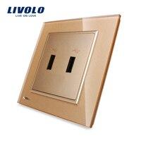 Livolo UK Standard Golden Crystal Glass Panel One Gang USB Plug Socket Wall Outlet VL W292USB