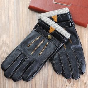 Image 3 - Новые осенние мужские кожаные перчатки, роскошные высококачественные модные брендовые теплые кожаные перчатки из овчины, мужские перчатки для вождения, бесплатная доставка
