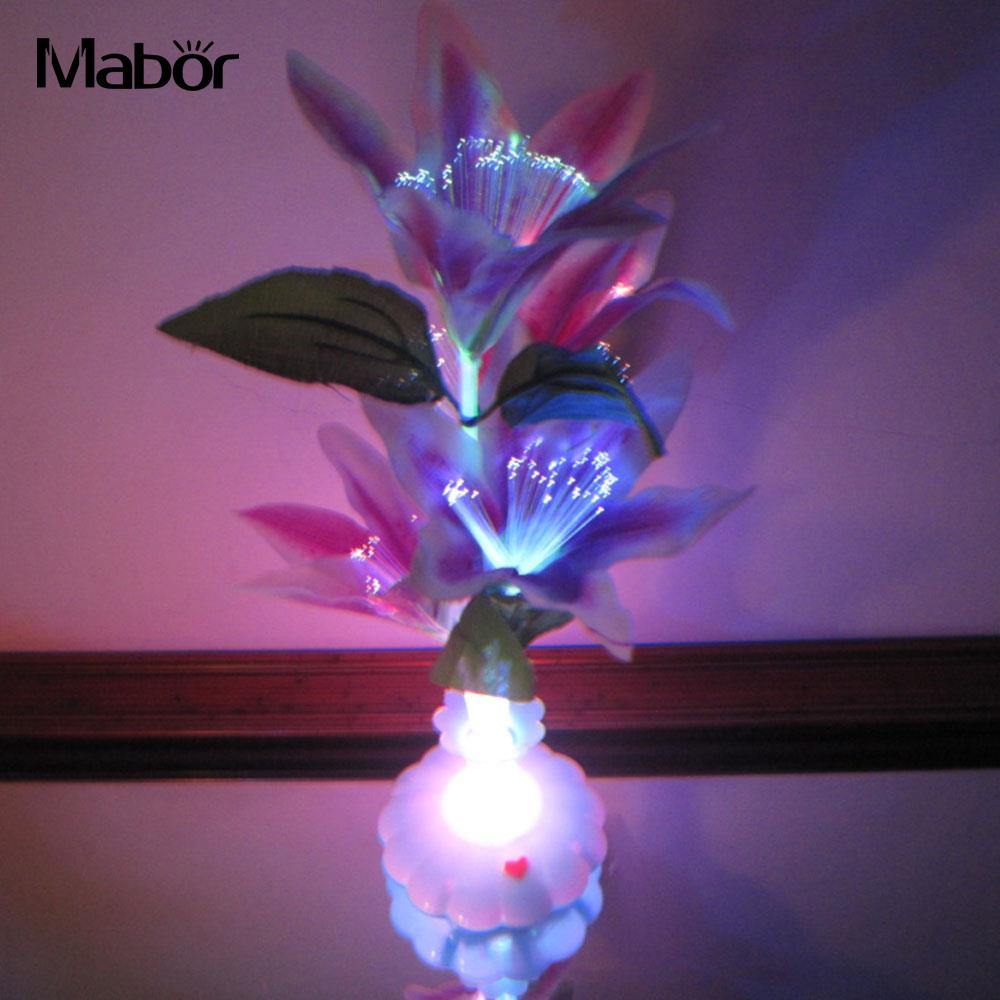 LED Optical Fiber Lamp Flower Lily Vase Night Light Decoration Colorful Gift Light Rose Home Decoration Valentine's Day Present