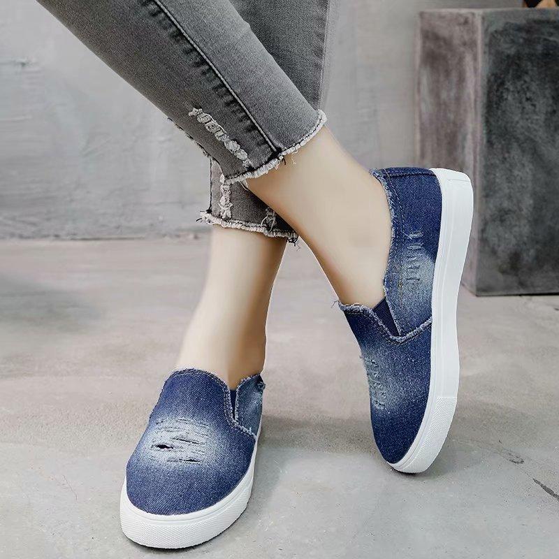 Women Canvas Shoes Flat Heel Round Toe