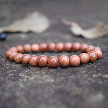 Fashion Goldstone Beaded Bracelets for Women Natural Stones Bead Handmade Gold Sand Strand Semi-precious Woven Jewelry