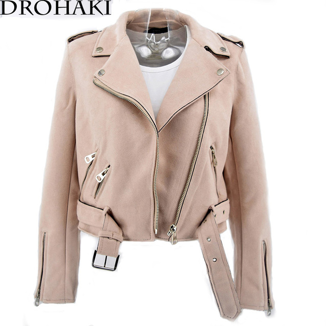 DROHAKI 2017 primavera chaqueta de cuero mujeres chaqueta de gamuza marrón  motocicleta motociclista ceñido de color c4bd38787741