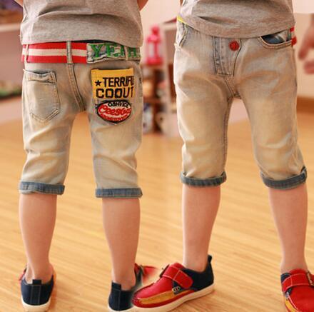 2016 roupas de verão para crianças moda infantil Capri calça jeans meninos shorts calças frete grátis