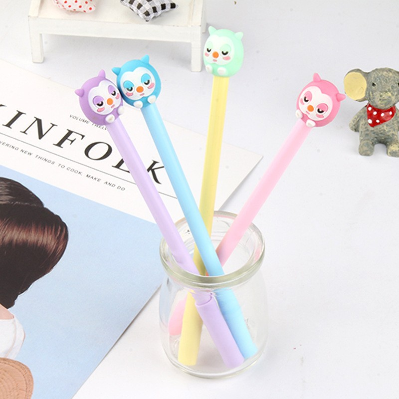 4 pcs/lot Owl gel pen Cute animal pens material escolar kawaii stationery canetas escolar school office supplies for children classic roller tip pen wholesale 3 color gel pens liquid ink office accessories school supplies canetas escolar