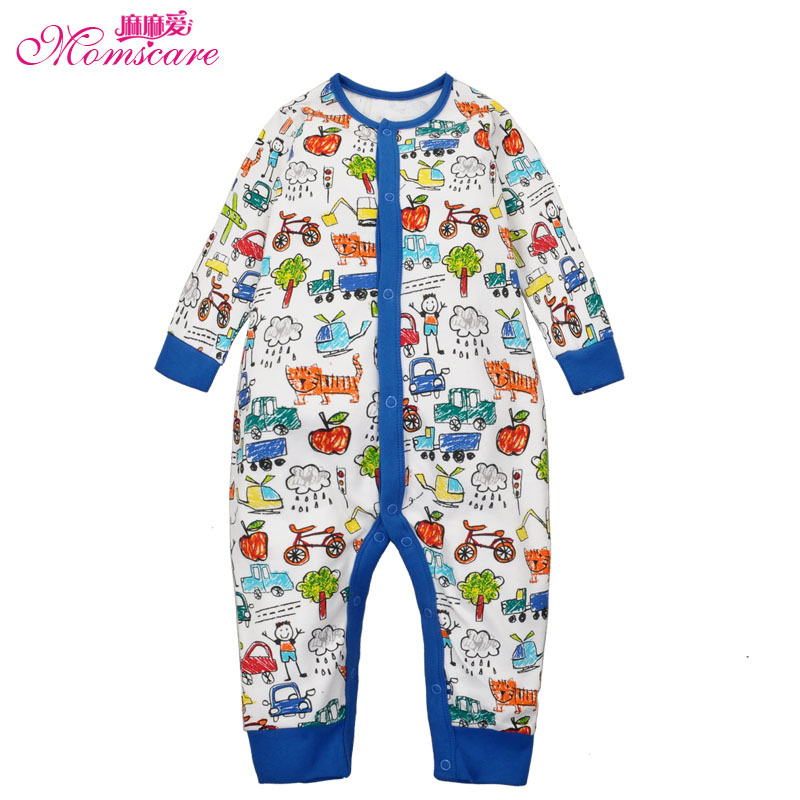 Mom's care Baby Rompers 100% Cotton Newborn Infant Toddler Boys Romper Pajamas Sleepwear Jumpsuit Body Wear for Spring Autumn baby rompers cartoon cotton boys girls romper long sleeve coveralls for newborn cotton infant jumpsuit o neck newborn sleepwear