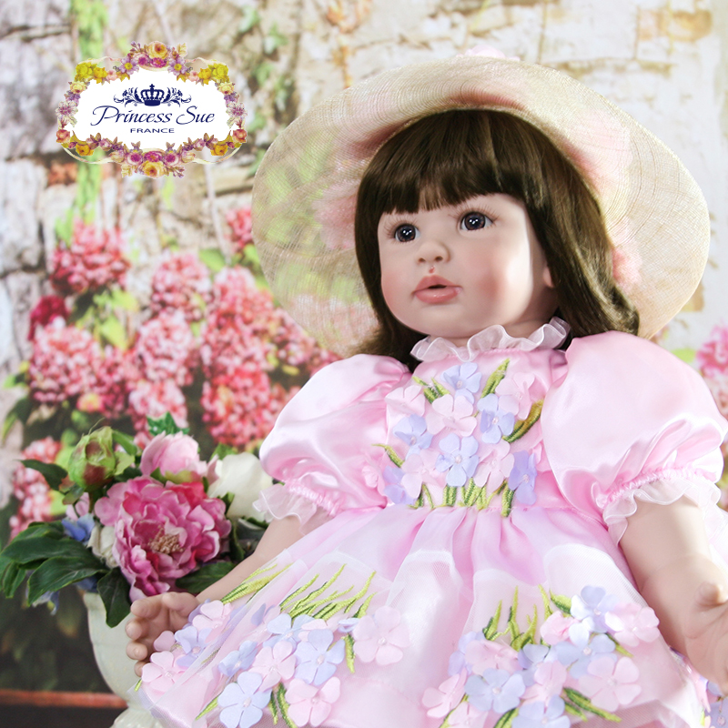 Pursue 24/60cm Reborn Babies Toddler Girl Like life Real Brown Hair With Hat Noble Flower Dress Soft Body Weighted for Cuddle цена