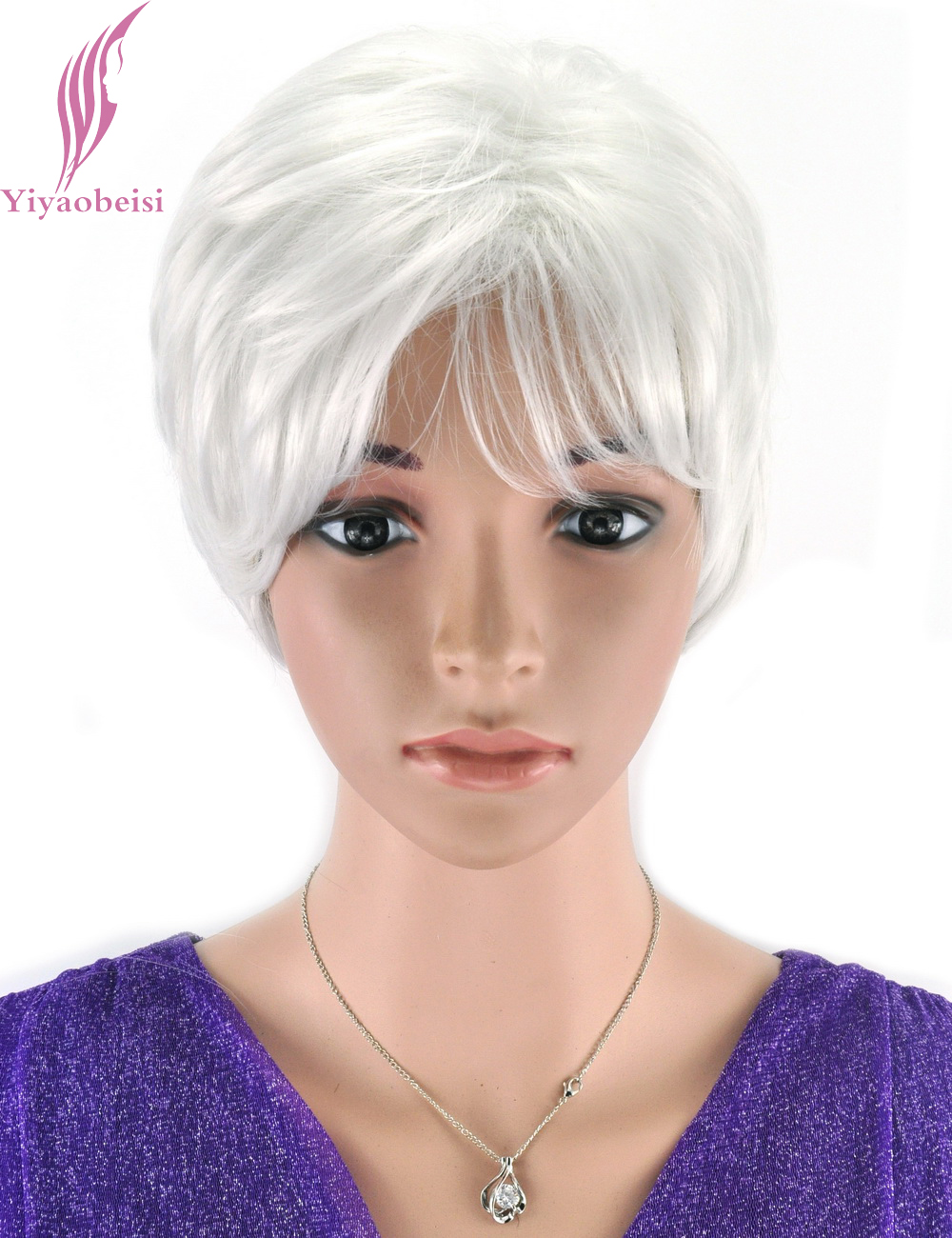 Yiyaobess 6inch Puffy Straight Short White Wig For Older Women Heat Resistant Synthetic African American Hair Wigs With Bangs
