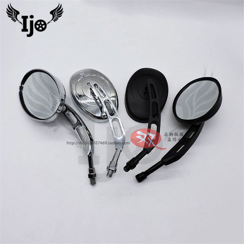 top quality part ellipse silver black motorcycle rearview mirror moto for harley motorbike side mirror scooter rear view mirror