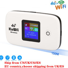 KuWFi Unlocked Travel Partner 150Mbps  LTE Mobile WiFi Hotspot 4G Wireless Router with SIM card Slot work B1/B3 Network
