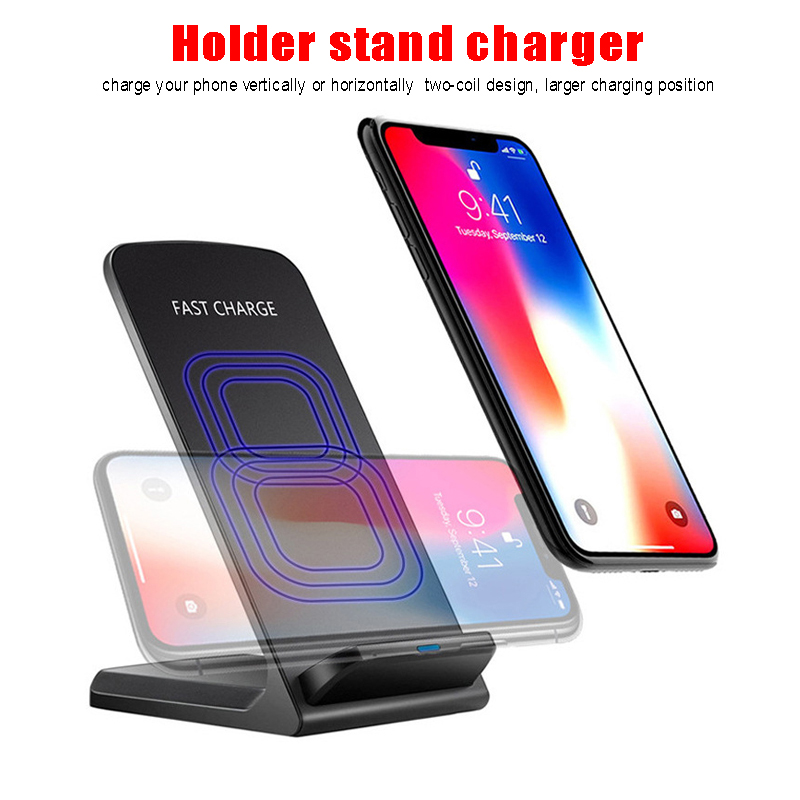 Qi Wireless Charger 10W quick Charging For iPhone XS Max XR X 8 PLUS For Samsung S9 S8 S7 Fast Wireless carregador Stand Adapter in Wireless Chargers from Cellphones Telecommunications