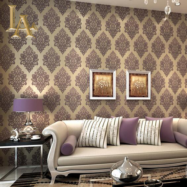European Silver Glitter Beige Green Grey Damask Wallpaper For Bedroom Wall  Decor Luxury Wall Paper Rolls