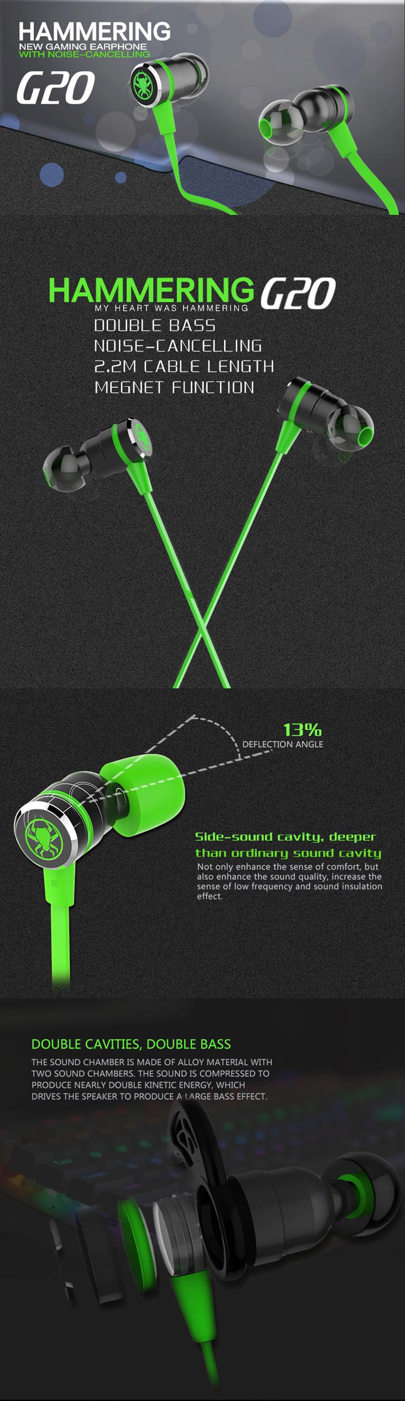 in ear earphone 3.5mm gaming headset gamer deep bass wired flat ...