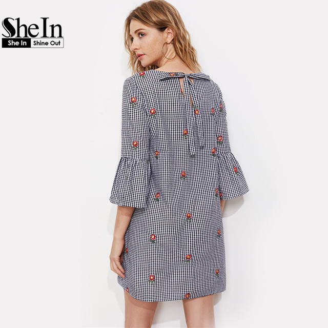 SheIn Fluted Sleeve Bow Back Flower Embroidered Gingham Dress Summer Three Quarter Length Sleeve Shift Plaid Dress