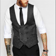 Double Breasted Men Solid Color Slim Fit Vest Plus Size S-4Xl Vintage Fashion Men Blazer Vest Brand Clothing Men Vests A2672