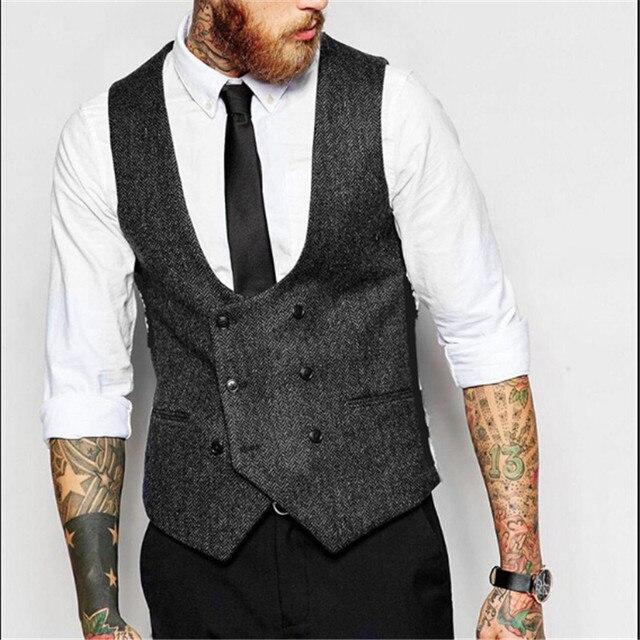 Double Breasted Men Solid Color Slim Fit Vest Plus Size S-4Xl Vintage Fashion Men Blazer Vest Brand Clothing Men Vests A2672