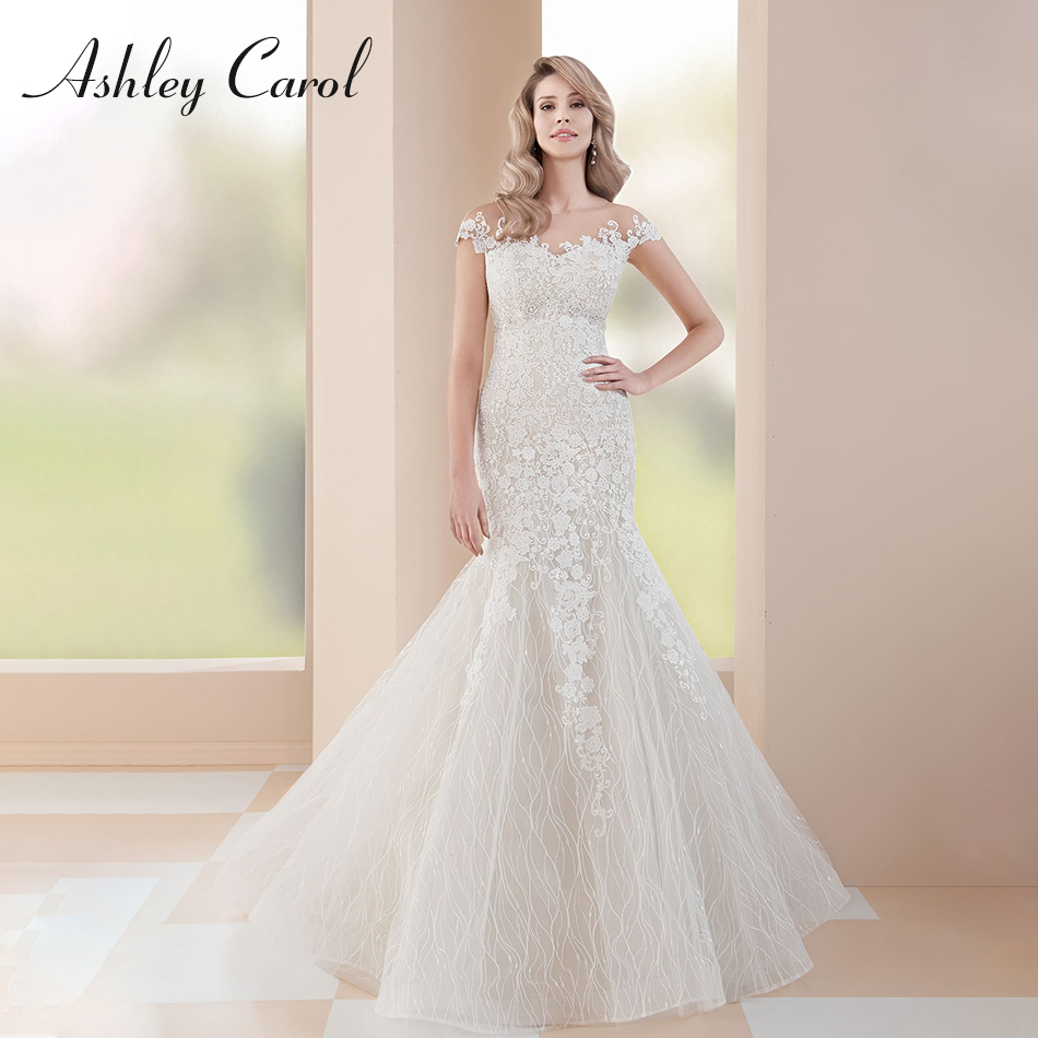 ab6d61a2342e Ashley Carol Boat Neck Beaded Appliques Lace Mermaid Wedding Dress 2019 Off  the Shoulder Vintage Bride Gown Vestido De Novia ~ Free Delivery July 2019