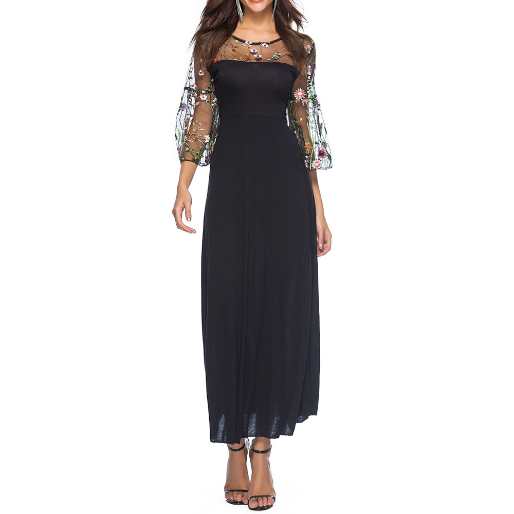 Summer Womens Dresses 2018 Elegant 3/4 Flare Sleeve Tulle Long Party Dress Cocktail Casual Black Woman Dress