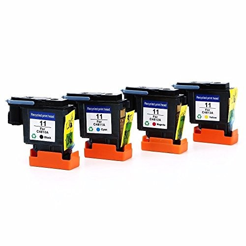 Printhead Remanufactured Replacements for HP 11 Printhead C4810A C4811A C4812A C4813A, 4Pack (Black, Cyan, Magenta, Yellow) 940 magenta cyan black yellow printhead c4901a c4902a for hp officejet pro 8500 8000