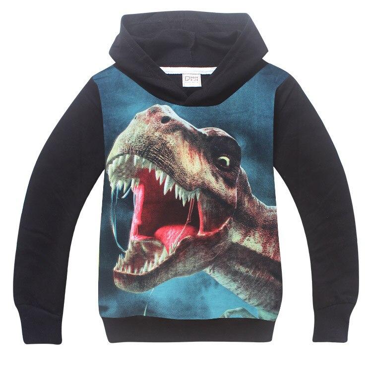 Лето-осень для мальчиков и девочек с принтом динозавра с длинными рукавами футболки для детей футболки для мальчиков 3D Толстовки с принтом ...