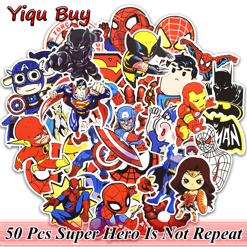 50 Pcs SuperHero Cartoon Vinyl Stickers for Fashion Street graffiti Laptop Motorcycle Bike Car Styling Home Decals Cool Sticker стоимость