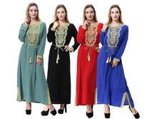 Muslim Embroidery Abaya Maxi Dress Women Jalabiya Middle East Islamic Robe Kimono Long Sleeve Turkey Hijab Arab Dubai Plus Size