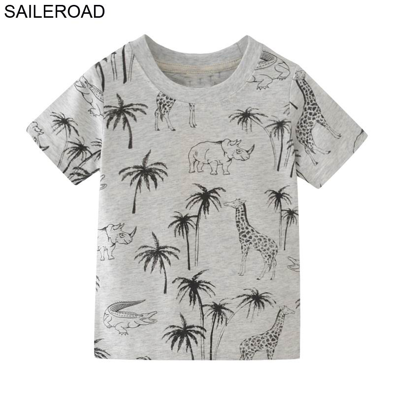 SAILEROAD 2-7Years Animal Giraffe Print Children Boys Tops Tees T-Shirts for Summer Baby Infant Boys Girls Shorts Clothes 1
