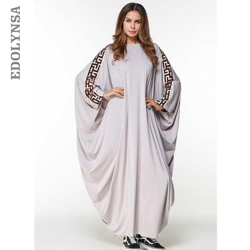 2019 Brand Fashion Muslim Dress Abaya Dress Robe Dresses Casual Kaftan  Knitting Soft Plus Size Robe 1afae8988e17