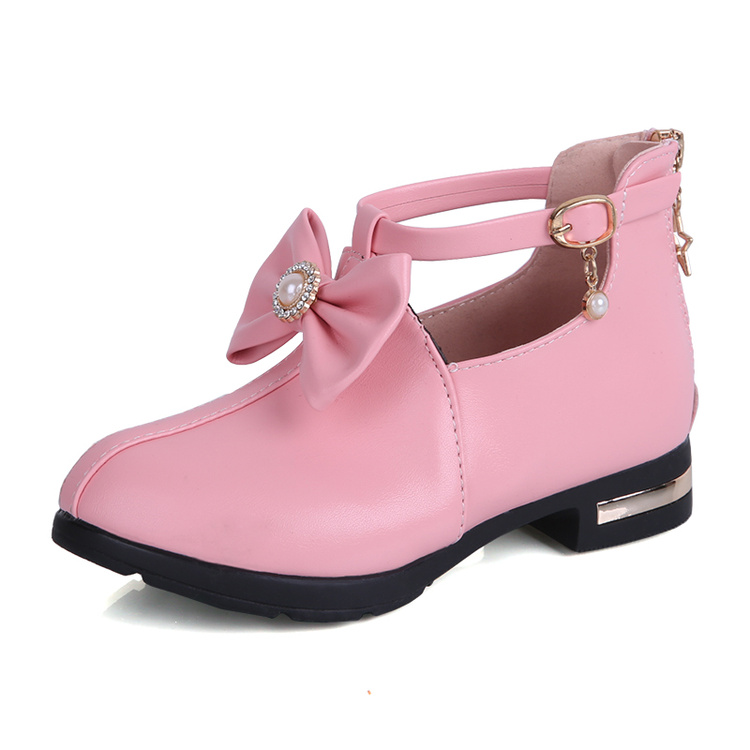 NEW 2018 Spring & Summer Girls Leather Shoes Fashion Bowtie Soft Bottom Beautiful Princess High Heel Dancing Shoes Size 27-37