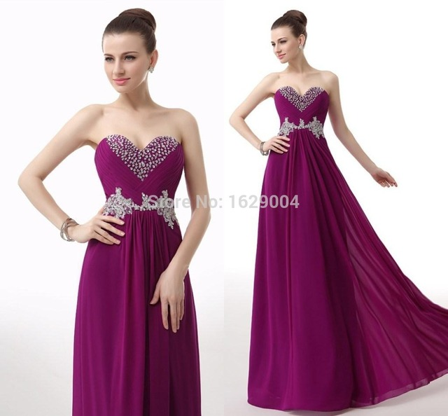 Grape Color Chiffon Beaded Appliqued Bridesmaid Dress Under Sweetheart Neck  Floor Length Maid Of The Honor Wedding Party Gown HC d8a15ed1a82e