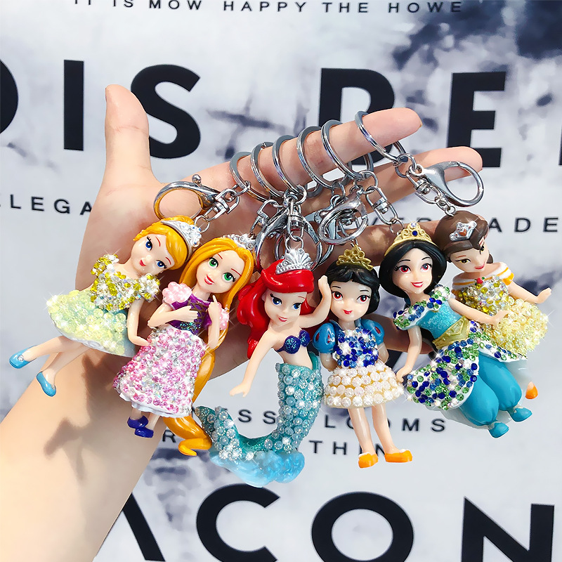 2019 New Korean Cartoon Animated Crystal Mermaid Princess Car Key Chain Female Bag Woven Key Chain Pendant Luxury Keychain
