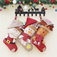 Top Sale Kids Xmas Decoration Candy Bag Christmas Stocking Santa Claus Sock Gift Bag Bauble Christmas
