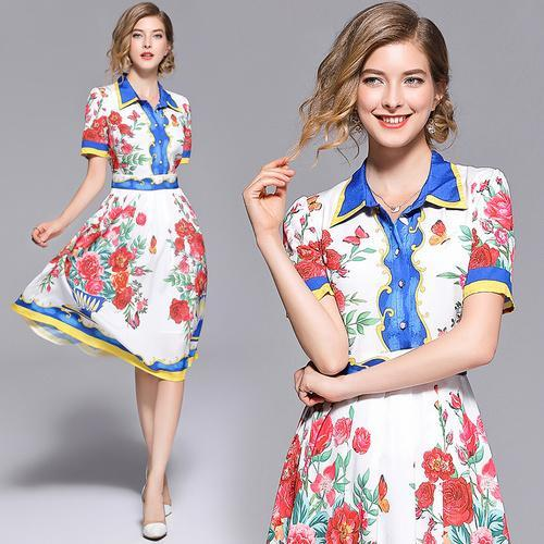 7bf19b69c797 Summer High-end Vintage Suit-dress Lapel Floral Printing Shirt Midi Dresses  Women Clothing ...