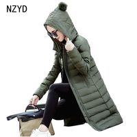 Women Winter Jacket 2017 New Women Hooded Warm Medium Long Down Cotton Coat Solid Color Slim