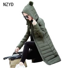 Winter Women Jacket 2017 New Women Hooded Warm Medium long Down Cotton Coat Solid color Slim Large size Female Parkas LADIES220
