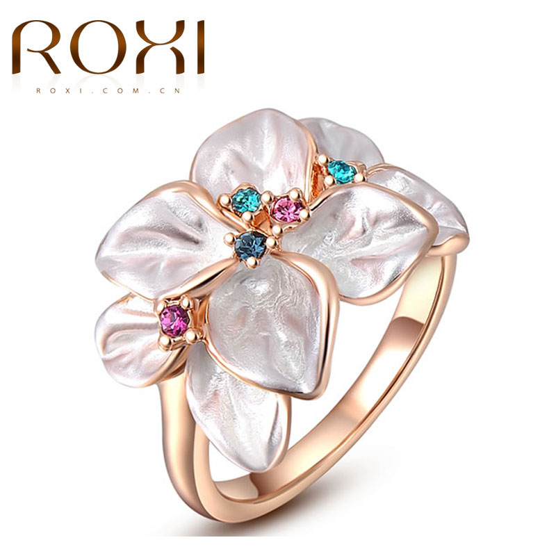ROXI Exquisite Rings For Women Classic AAA Rhinestone Leaves Rose / White Gold Color Flower Ring Jewelry For Wedding Engagement