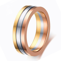 New Fashion Rings For Women Three Colors Titanium Steel Wedding Bands 18K Gold Plated Rose Gold