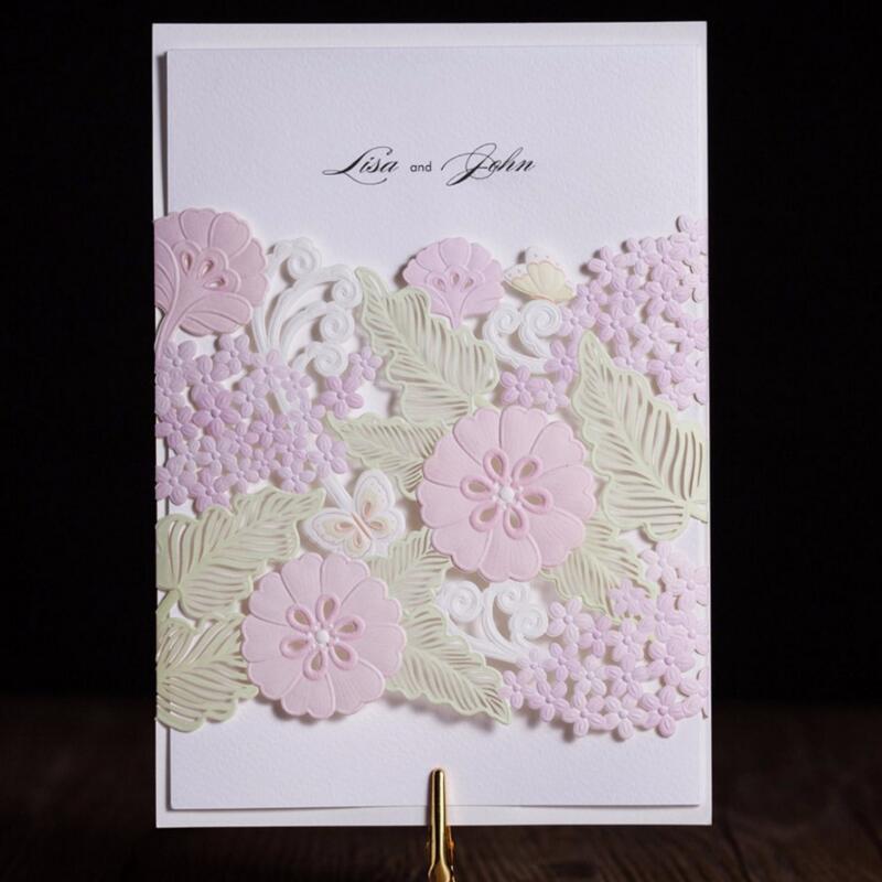 ФОТО 50pcs/pack Laser Cut Wedding Invitations Cards Elegant Hollow Flowers for Engagement Wedding Birthday Graduation Anniversary
