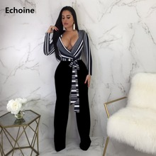 цена на Women Striped V-neck Sexy Jumpsuit Elegant Wide Leg Jumpsuit with Belt Long Sleeve Office Work Overall Winter Women Romper