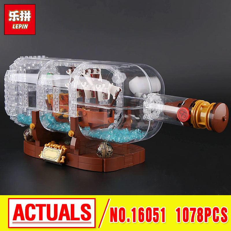 Lepin 16051 New Toys 1078Pcs Movie Series The 21313 Ship in a Bottle Set Building Blocks Bricks birthday education 8 in 1 military ship building blocks toys for boys
