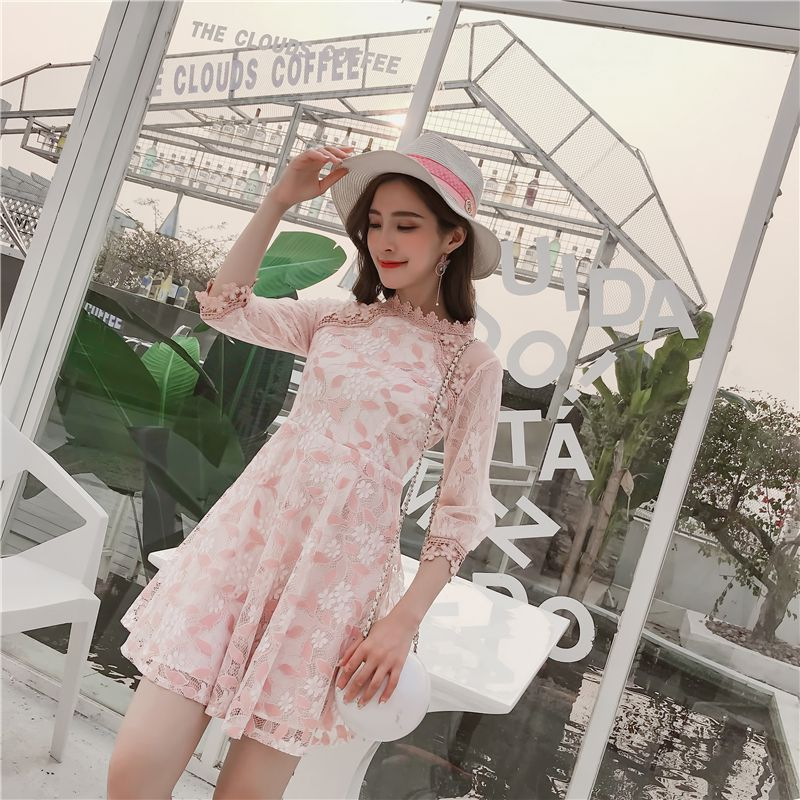New Spring Cute Women dress Puff Sleeve Floral High Patchwork Slim Lace She Accept Waist A Word Dresses Pink Apricot 5911