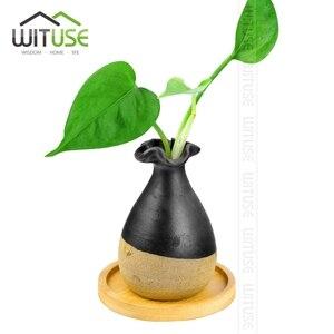 Image 4 - WITUSE maceta de cerámica con soporte de bambú para plantas suculentas, soporte para plantas de interior, platillos, bonsái, maceta de escritorio, bandeja para plantas de Bambú