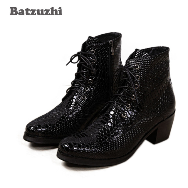 58f918a9f Batzuzhi 6.8CM High Heels Men Boots Round Toe Lace-up Leather Male Ankle  Boots Fashion Japanese Style Boots Men Party/Wedding