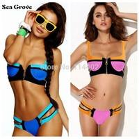 Women S Fashion Swimwears 2015 Sexy Neoprene Bikinis Woman Zipper Swimsuit Push Up Bikini Set S