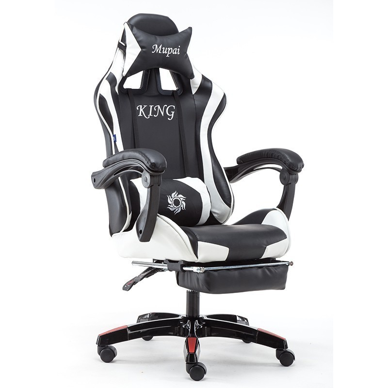 EU Massage Reclining Racing Chair Comfortable Computer Office Chair 360 Degree Revolving Gaming Recliner Armchair With Footrest