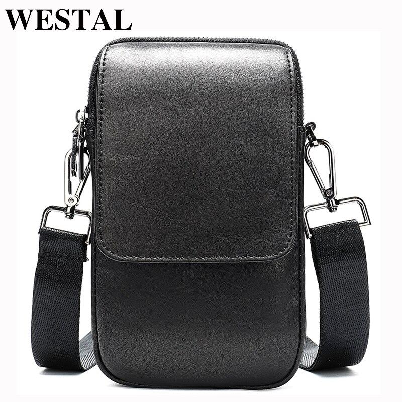 WESTAL Bag Men's Small Crossbody Bag Men Genuine Leather Men's Shoulder Bags For Cell Phone Bag Belt Waist Packs For Men Handbag