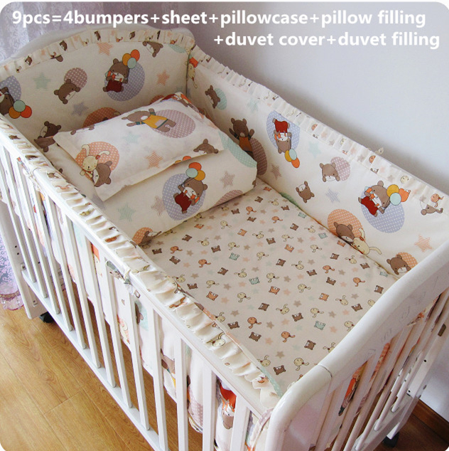 Promotion! 9PCS Full Set 100% cotton Fashion Lovely Printing Guaranteed New Baby Bedding,4bumper/sheet/pillow/duvet