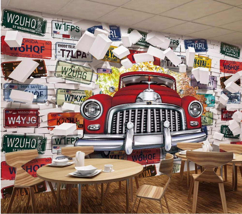 Custom photo mural 3d wallpaper vintage car license plate for Auto decoration shops in rawalpindi