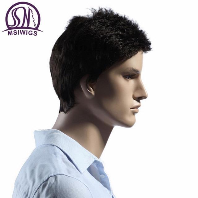 MSIWIGS Lisse Court Hommes Perruques Résistant À La Chaleur Japonais Fiber Brun Foncé Naturel Cheveux Mâle Perruque Synthétique Noir Couleur Hommes Toupet 2
