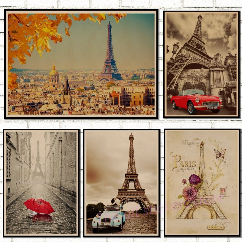 Vintage Paris Living Room: Retro Poster France Paris Eiffel Tower Poster Kraft Paper