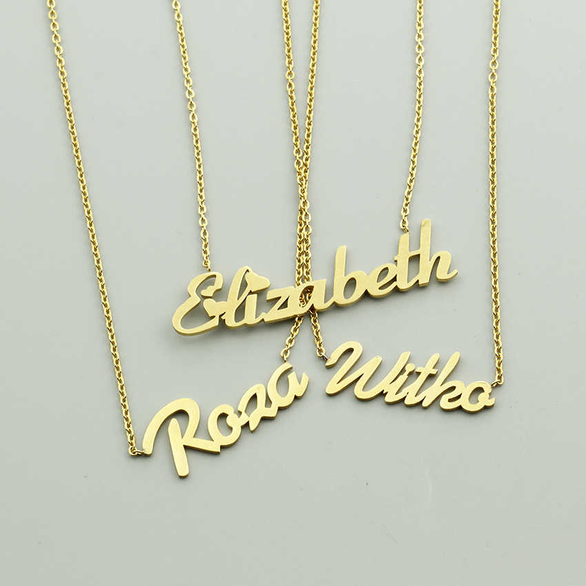 da9f67e6f ... Custom Name Necklaces Pendants Stainless Steel Chain Nameplate Choker  Necklaces For Women Personalized Jewelry Bridesmaid Gifts ...